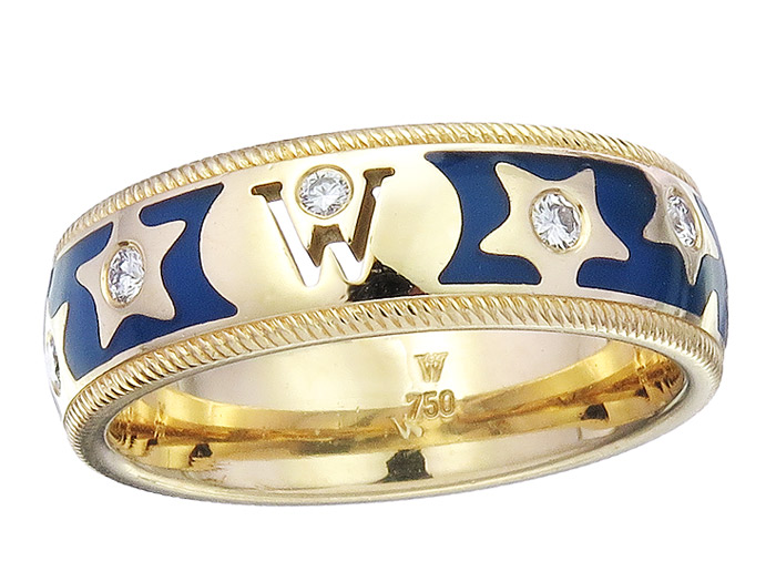 Wellendorff Ring MARQUISE Emaille Brillanten 750er Gelbgold